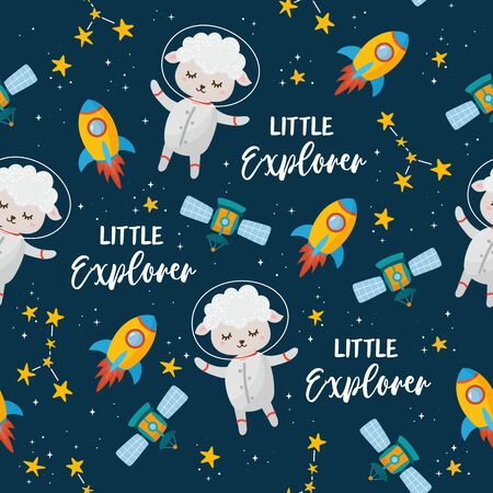 Space seamless pattern. Kids illustration with hand lettering text and different elements of cosmos. Astronaut lamb, cute planets, stars, ufo, rocket, constellations.