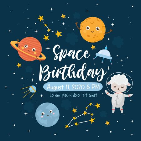 Space Birthday greeting card template. Kids illustration with hand lettering text and different elements of cosmos. Astronaut lamb. Cute character planets, sun, moon, stars, Milky Way.