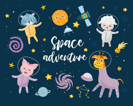 Space adventure kids illustration with hand lettering and different elements of cosmos. Astronaut animals, raccoon, lamb, piglet and giraffe. Cute characters, planets, sun, moon and stars.