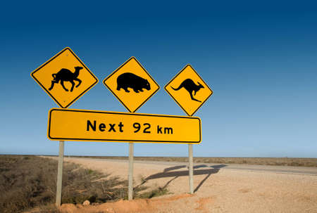 Kangaroo, wombat and camel warning sign Australia photo