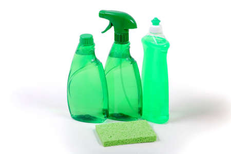 Green environmentally friendly cleaning products photo