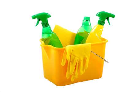 productos quimicos: Green y productos químicos de limpieza juntos en un cubo