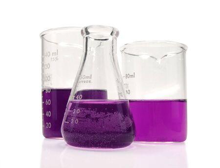 Laboratory Beakers with weird purple fluid