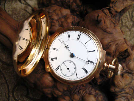 Antique gold pocketwatch on burl