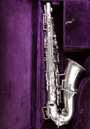 Beautiful vintage sax, circa 1924 in original case                            Stock Photo