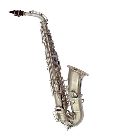 Isolated view of beautiful vintage alto sax                                Stock Photo