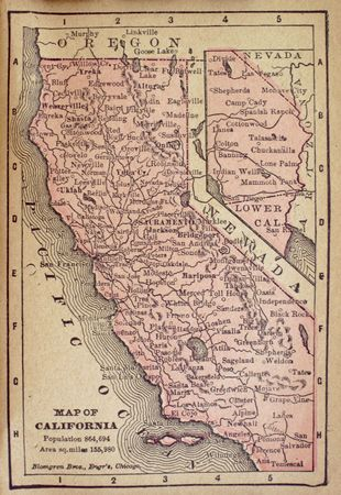 1840 map of California with population less than one million