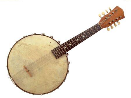 Beautiful vintage six string banjo on white