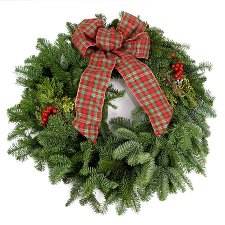 boughs: Beautiful, fresh holiday wreath with pine boughs and a bow