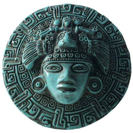 mayan culture: Beautiful Aztec  Indian  Mexican design showing face and symbols                                Stock Photo