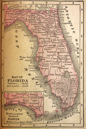 Faded map of Florida in 1880 when population was less than 270,000                                photo