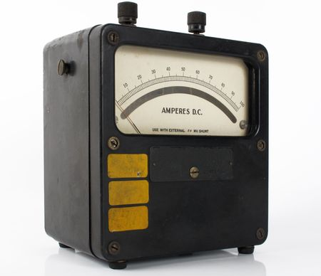 Vintage amphere meter measuring direct and indirect current                                photo