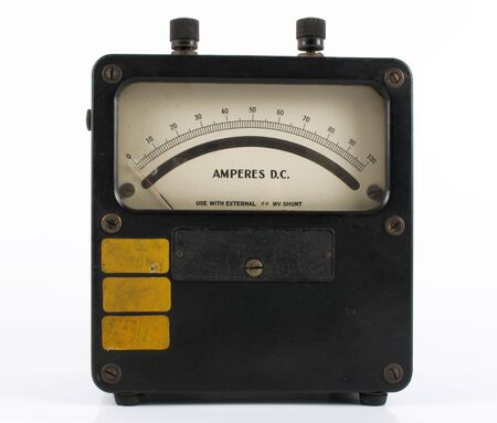 Old fashioned black box amphere meter on white                                photo