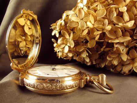 Wunderschöne Vintage Tasche Watcg mit getrockneten Blumen Hintergrund