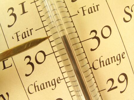 Close up, detailed view of an antique barometer                                photo