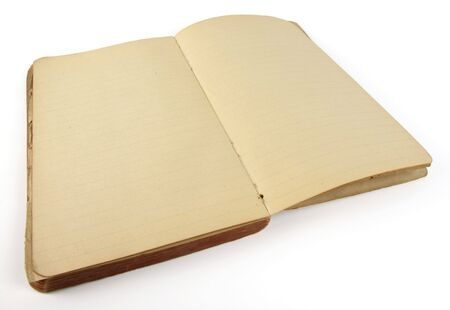 Old ruled diary, open to a blank set of pages