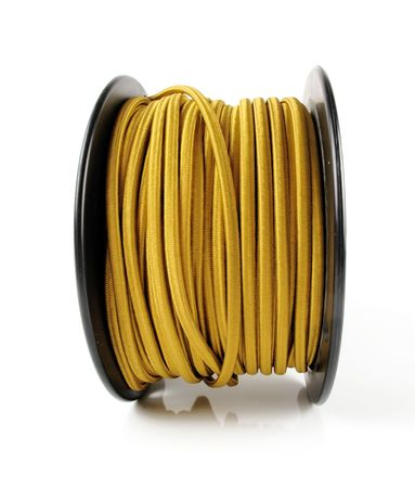 Large spool of yellow wiring primarily used in vintage restoration                                photo