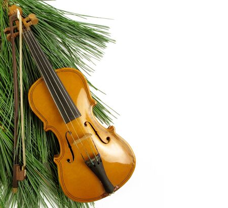 Beautiful miniature violin against a pine bough on white                                photo