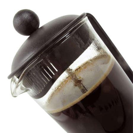 Cerrar aislado vista con una máquina de café de la prensa francesa                                Foto de archivo - 8092526