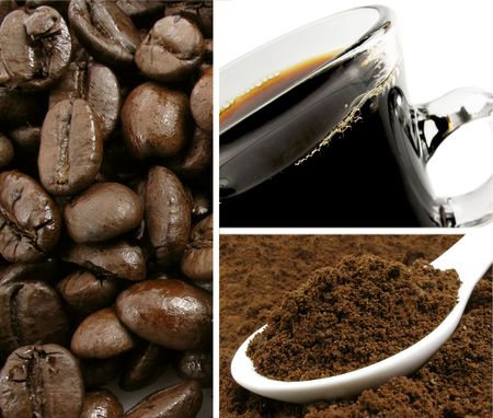 Whole bean roasted coffee with ground coffee and a cup of fresh-brewed hot coffee