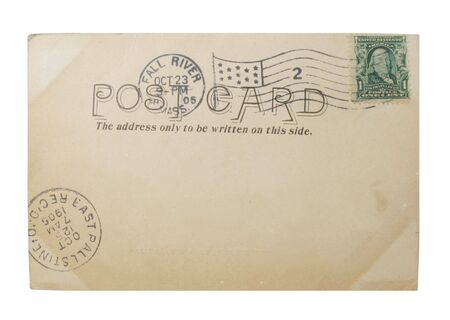 Old penny postcard with penny stamp and postal cancellations                                 photo