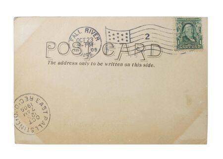 Oude penny ansicht kaart met penny stempel en post annuleringen