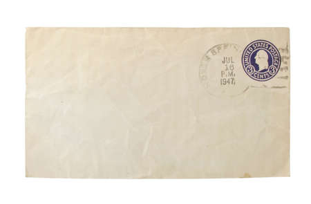 old envelope: Old 1947 worn envelope with cancelled stamp on white