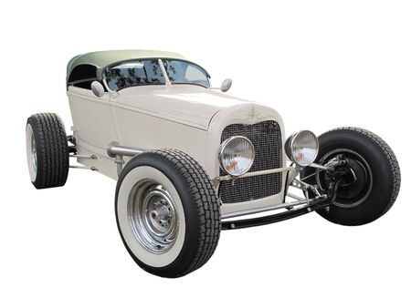 Vintage modified hotrod isolated on a white background