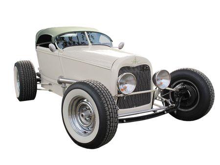 coche clásico: Vintage Hot Rod modificado aislado en un fondo blanco  Foto de archivo