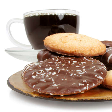 heaping: Heaping plate full of rich chocolate cookies with fresh hot coffee