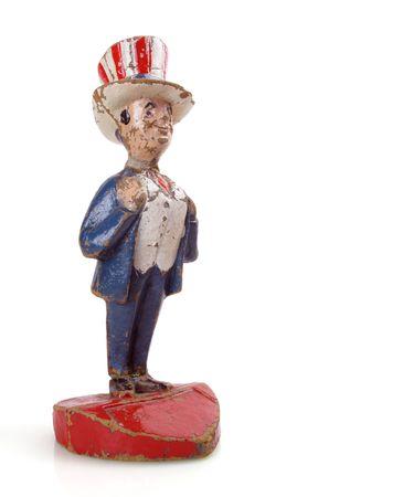 sam: Old and battered vintage paper mache Uncle Sam                               Stock Photo