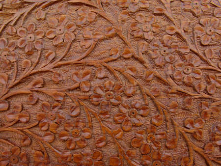 Close up detail of a carved box lid Banco de Imagens