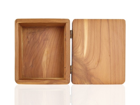 Open small cedar box with hinged lid photo