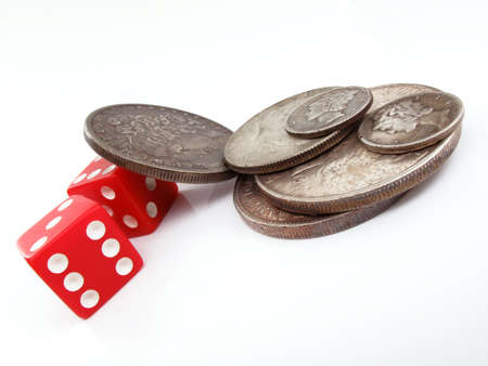 silver coins: silver coins and red dice