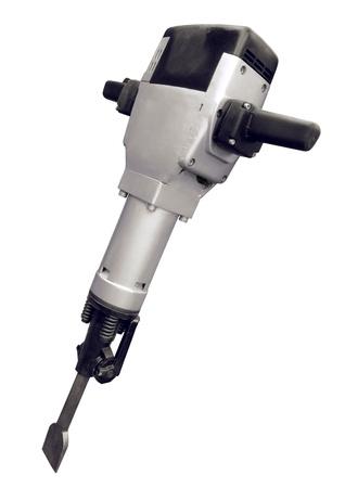 흰 배경에 고립 된 전기 jackhammer