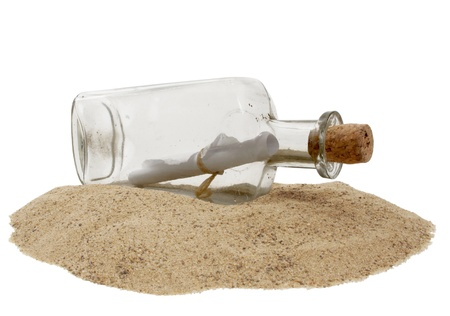 castaway: Traditional message in a bottle on the beach with white background