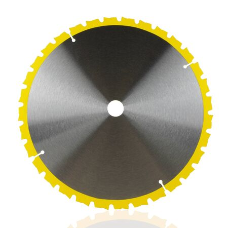 Brand new saw blade with yellow teeth isolated