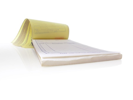 Receipt pad, Isolated and open to a blank page Stock Photo