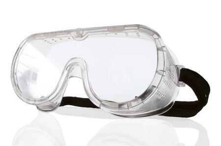 eye protection: New safety goggles on a white background Stock Photo