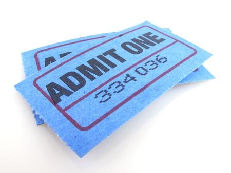 movie ticket:  Two bright blue