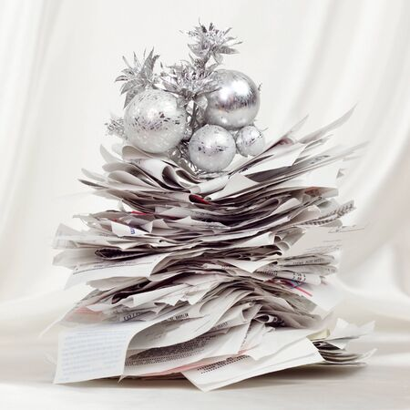 credit card bills: Stack of receipts form a festive holiday tree