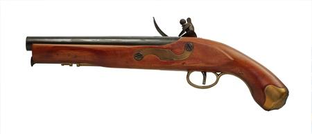 black powder: Old black powder pistol on a white background
