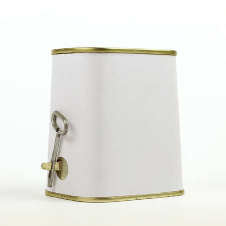uniquely: Uniquely shaped can of meat with opener key on white