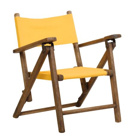 Antique folding canvas childrens lawn chair in bright yellow