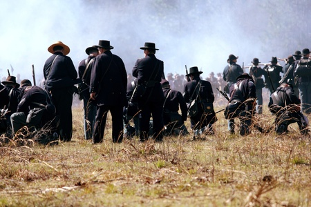 Union soldiers shown in battle at the Civil War reenactment at Olustee, Florida