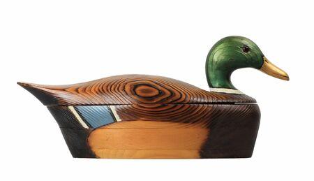 mallard: Hermosa mano tallada masculino pato ánade real utilizado para el almacenamiento de los mandos a distancia
