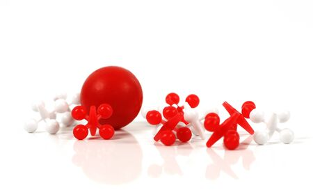 jacks: Game of jacks in red and white on white background