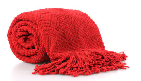 comforter: Bright red fringed afgan on white background