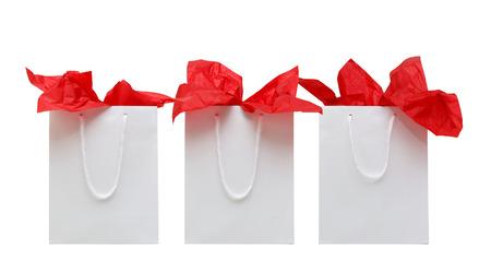 tejido: Tres coloridas bolsas de la compra