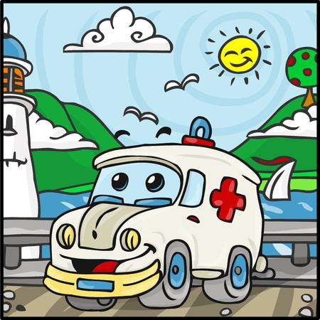 ambulancia: Ilustraci�n detallada de un personaje de dibujos animados con Tow Truck Hills Antecedentes Vectores